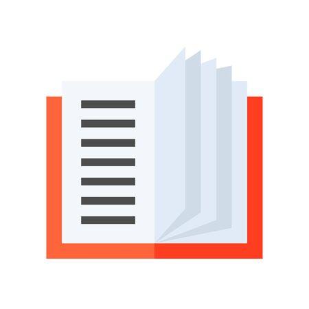 Open book vector illustration, flat design icon