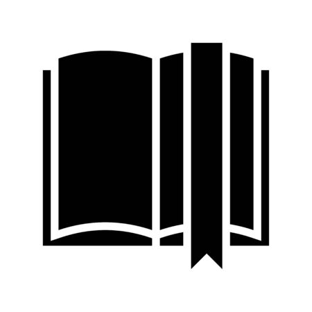Open book with bookmark vector, solid design icon Ilustracja