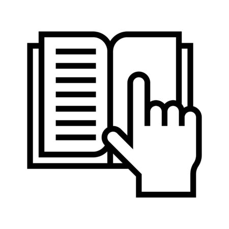 Open book with hand pointing, line design icon