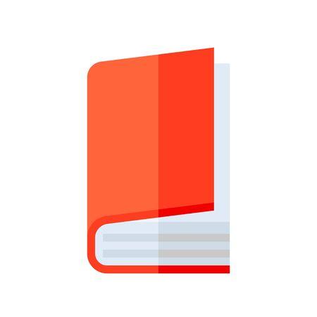 Closed book vector illustration, flat design icon