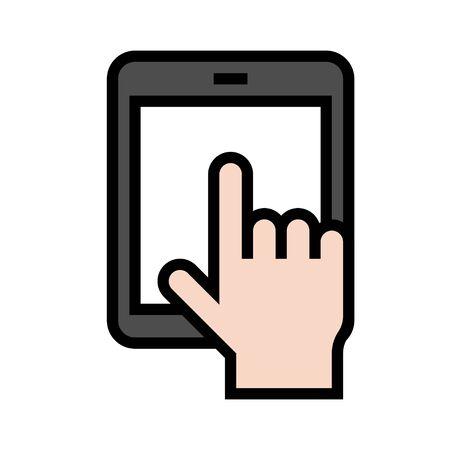 Tablet computer vector illustration, filled design icon