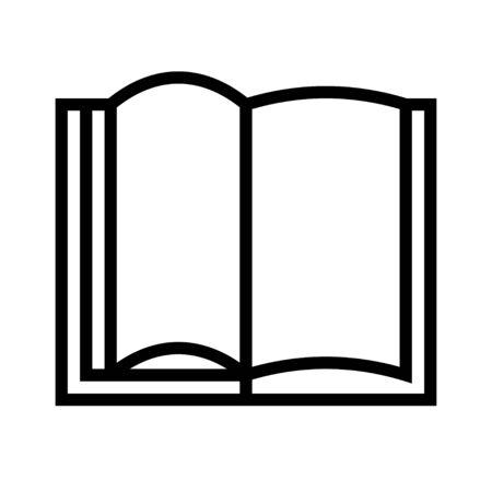 Open book vector illustration, line design icon