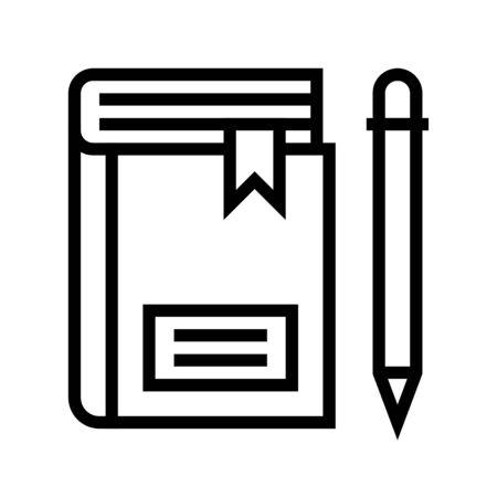 Notebook with pencil vector, line design icon