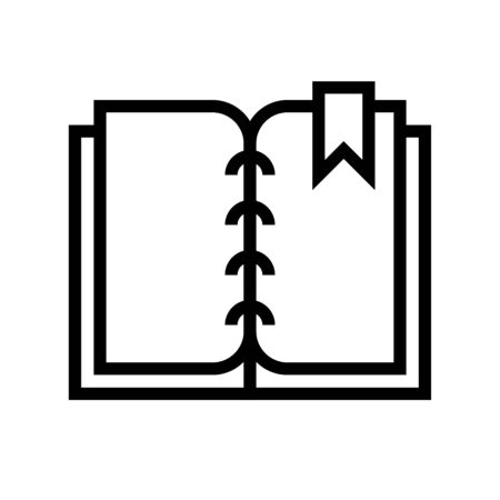 Open book with bookmark vector illustration, line design icon