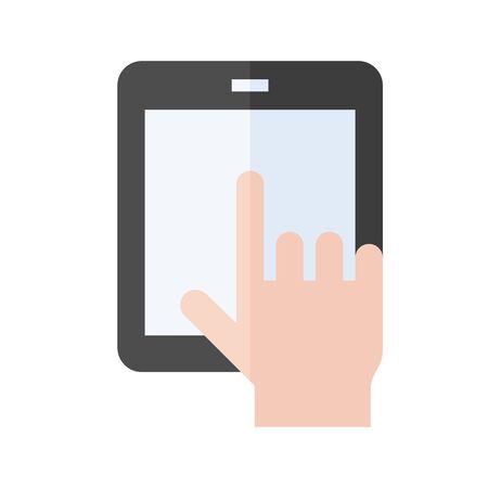 Tablet computer vector illustration, flat design icon