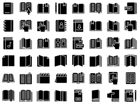 Book and Notebook vector icon set, solid style