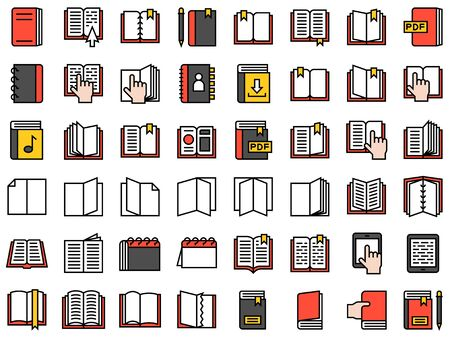 Book and Notebook vector icon set, filled style