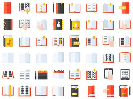 Book and Notebook vector icon set, flat style Ilustrace