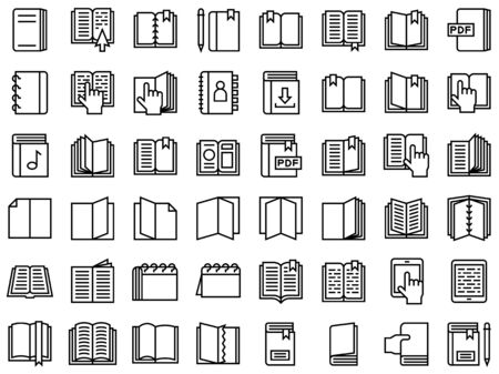 Book and Notebook vector icon set, line style