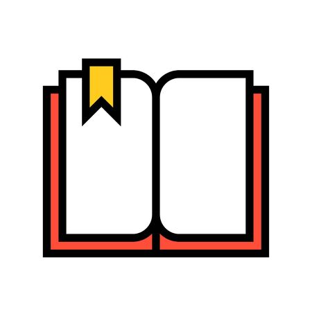 Open book with bookmark vector, filled design icon