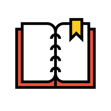 Open book with bookmark vector illustration, filled design icon