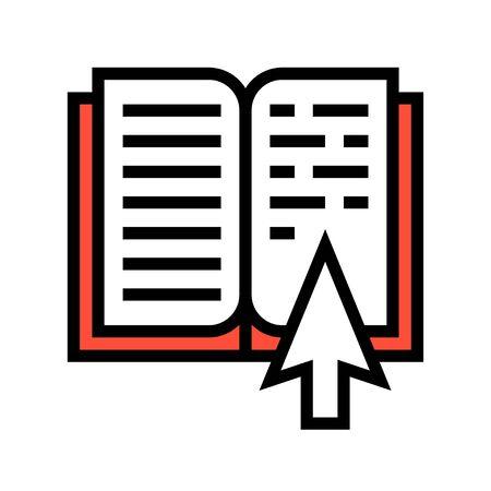 Libro aperto con illustrazione vettoriale puntatore, icona del design riempita