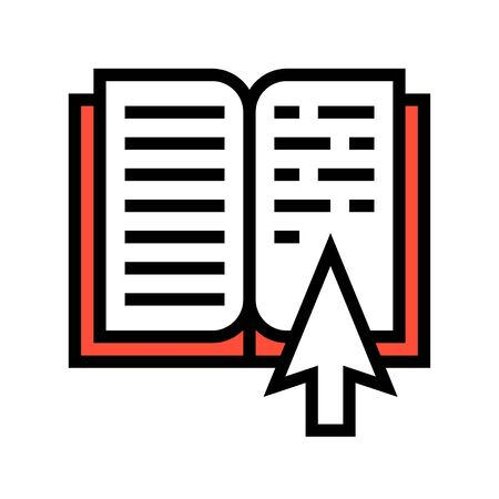 Open book with pointer vector illustration, filled design icon