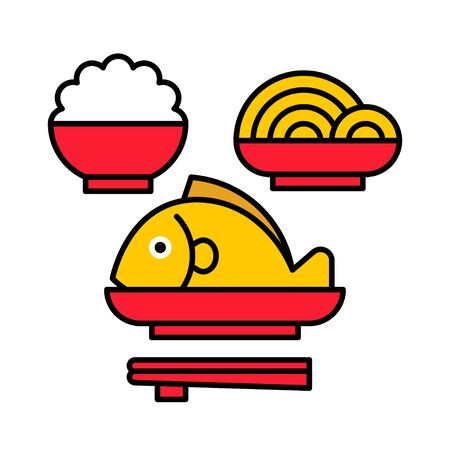 Food for pay respect to god vector illustration, Chinese New year filled icon