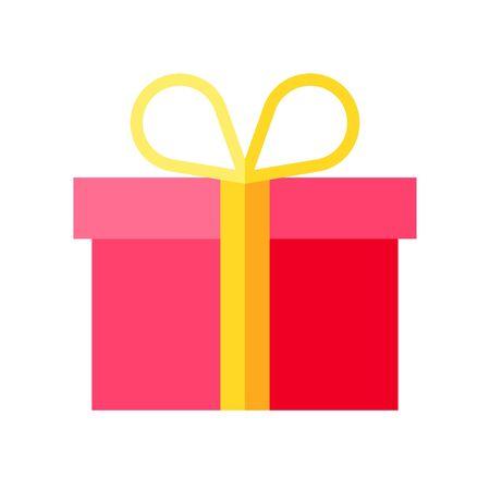 Illustrazione vettoriale di confezione regalo, icona di stile piatto Vettoriali