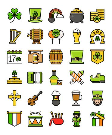 Saint patricks day related vector icon set, filled design