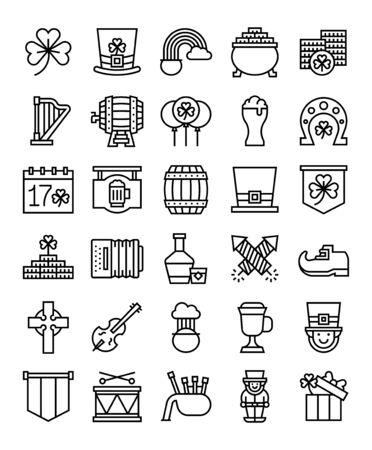 Saint patricks day related vector icon set, line design Ilustracja