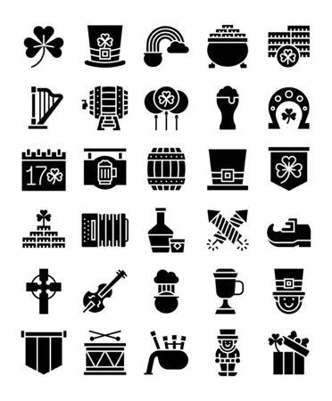 Saint patricks day related vector icon set, solid design Ilustracja