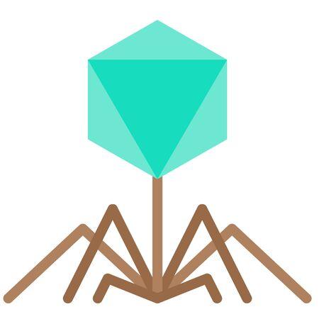 Bacteriophage virus vector illustration, flat design icon