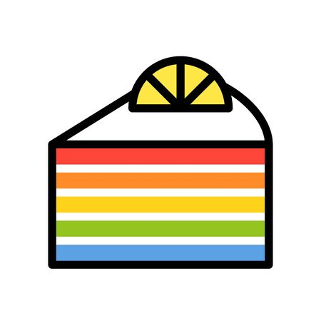 Rainbow cake vector illustration, filled design icon