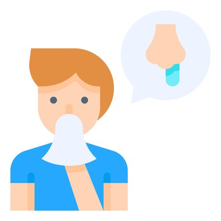 Man sneezing vector illustration, flat design icon