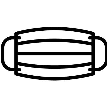 Surgical mask vector illustration, line design icon