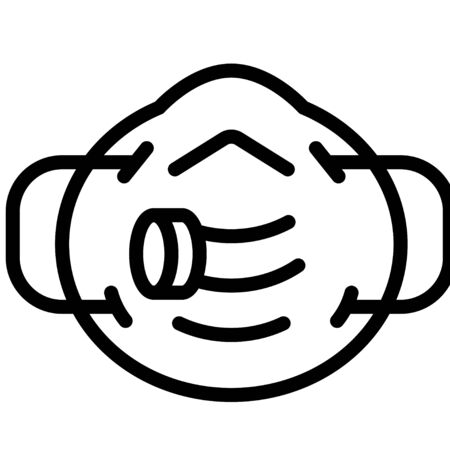 N95 mask vector illustration, line design icon Vetores