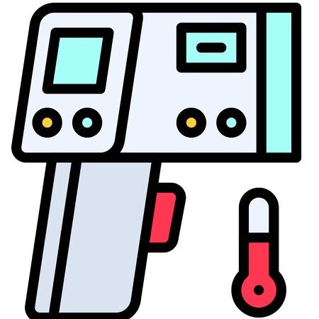 Infrared thermometer vector illustration, filled design icon