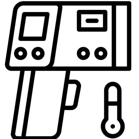 Infrared thermometer vector illustration, line design icon