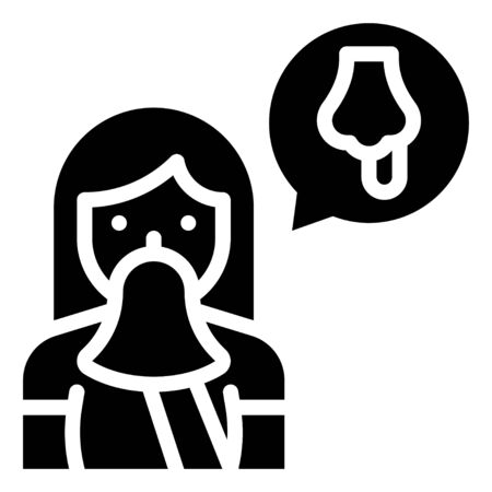 Woman sneezing vector illustration, solid design icon