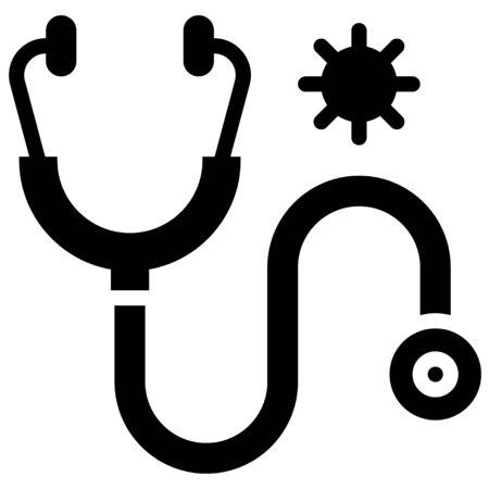 Stethoscope with coronavirus symbol vector illustration, solid design icon Ilustración de vector