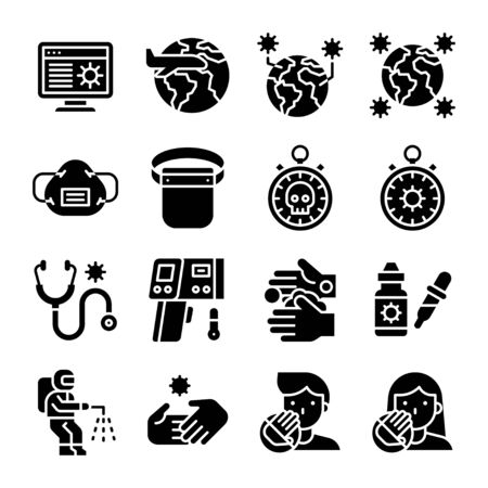 Coronavirus disease 2019 related icon set 3, solid design