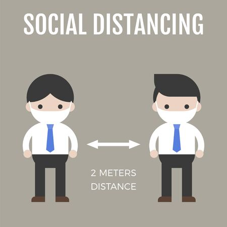 Two men maintaining a physical distance vector illustration Vektorgrafik
