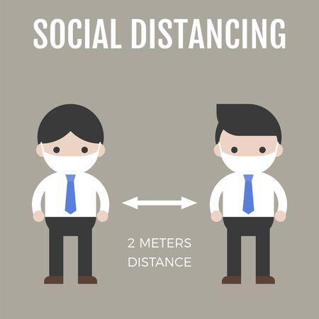 Two men maintaining a physical distance vector illustration Vektoros illusztráció