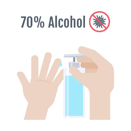 Hands with 70 percent alcohol bottle vector illustration