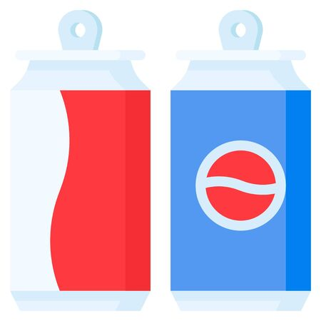 Soft drink can icon, Beverage flat style vector illustration