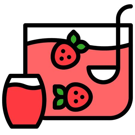 Strawberry cocktail icon, Beverage filled style vector illustration