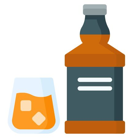 Alcoholic drink icon, Beverage flat style vector illustration