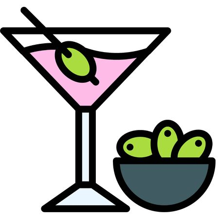 Martini with olive icon, Beverage filled style vector illustration