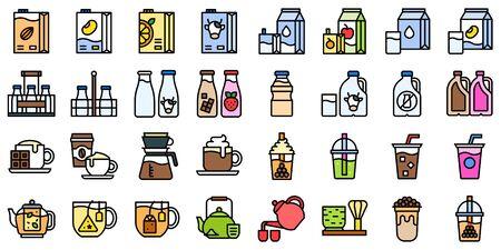 Beverage icon set, filled design vector illustration Ilustração