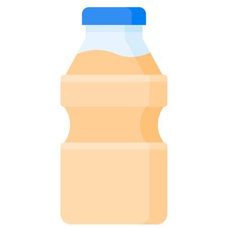 Drinking yogurt bottle icon, Beverage flat style vector