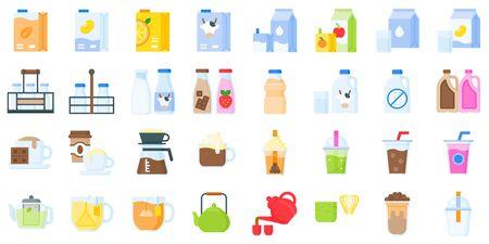 Beverage icon set, flat design vector illustration