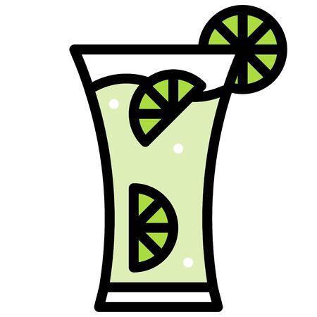 Sparkling lemonade icon, Beverage filled style vector illustration