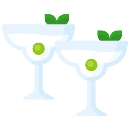 Martini with olive icon, Beverage flat style vector illustration
