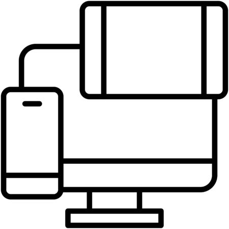 Computer tablet and mobile, Telecommuting or  remote work related icon Vectores