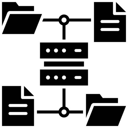 File server, Telecommuting or  remote work related icon Illustration
