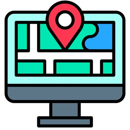 Map and location, Telecommuting or  remote work related icon Vectores