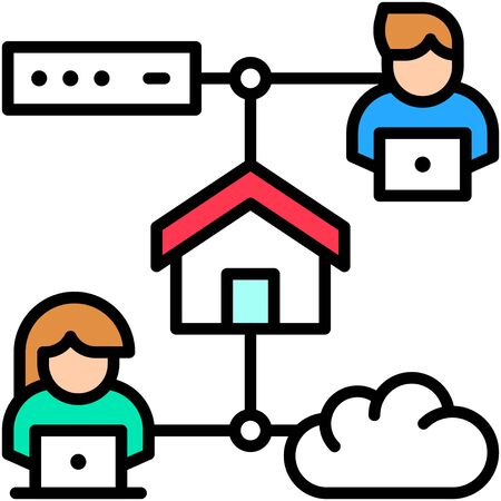 Cloud service, Telecommuting or  remote work related icon