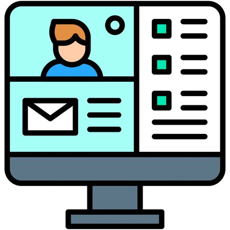 Video conference, Telecommuting or  remote work related icon Vectores