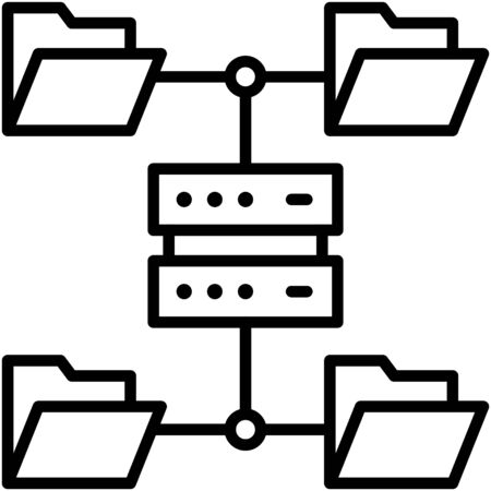 File server, Telecommuting or  remote work related icon Vectores